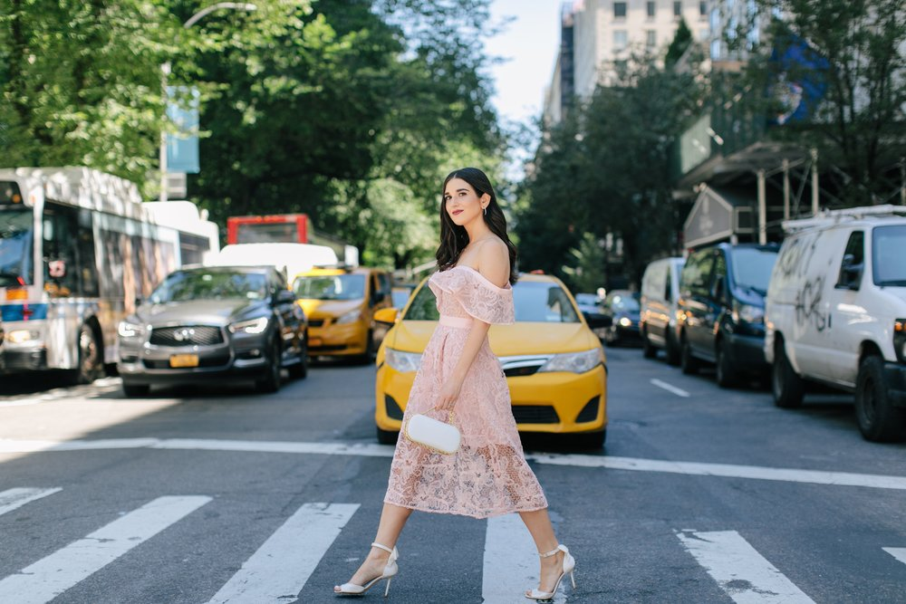 A New Perspective On Instagram Jealousy Pink Lace Dress Ivory Bow Heels Esther Santer Fashion Blog NYC Street Style Blogger Outfit OOTD Trendy White Clutch Self Portrait Designer Kate Spade Wedding Shoes Fancy Elegant Feminine Shopping Bag Wear Formal.jpg