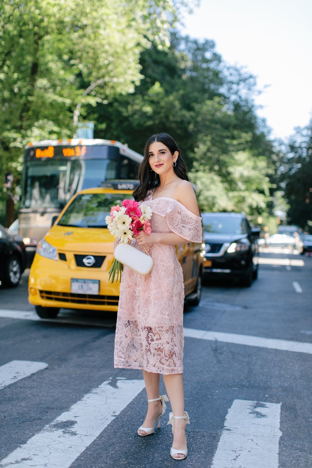 A New Perspective On Instagram Jealousy Pink Lace Dress Ivory Bow Heels Esther Santer Fashion Blog NYC Street Style Blogger Outfit OOTD Trendy Formal White Bag Clutch Self Portrait Designer Kate Spade Wedding Shoes Fancy Elegant Feminine Wear Shopping.jpg