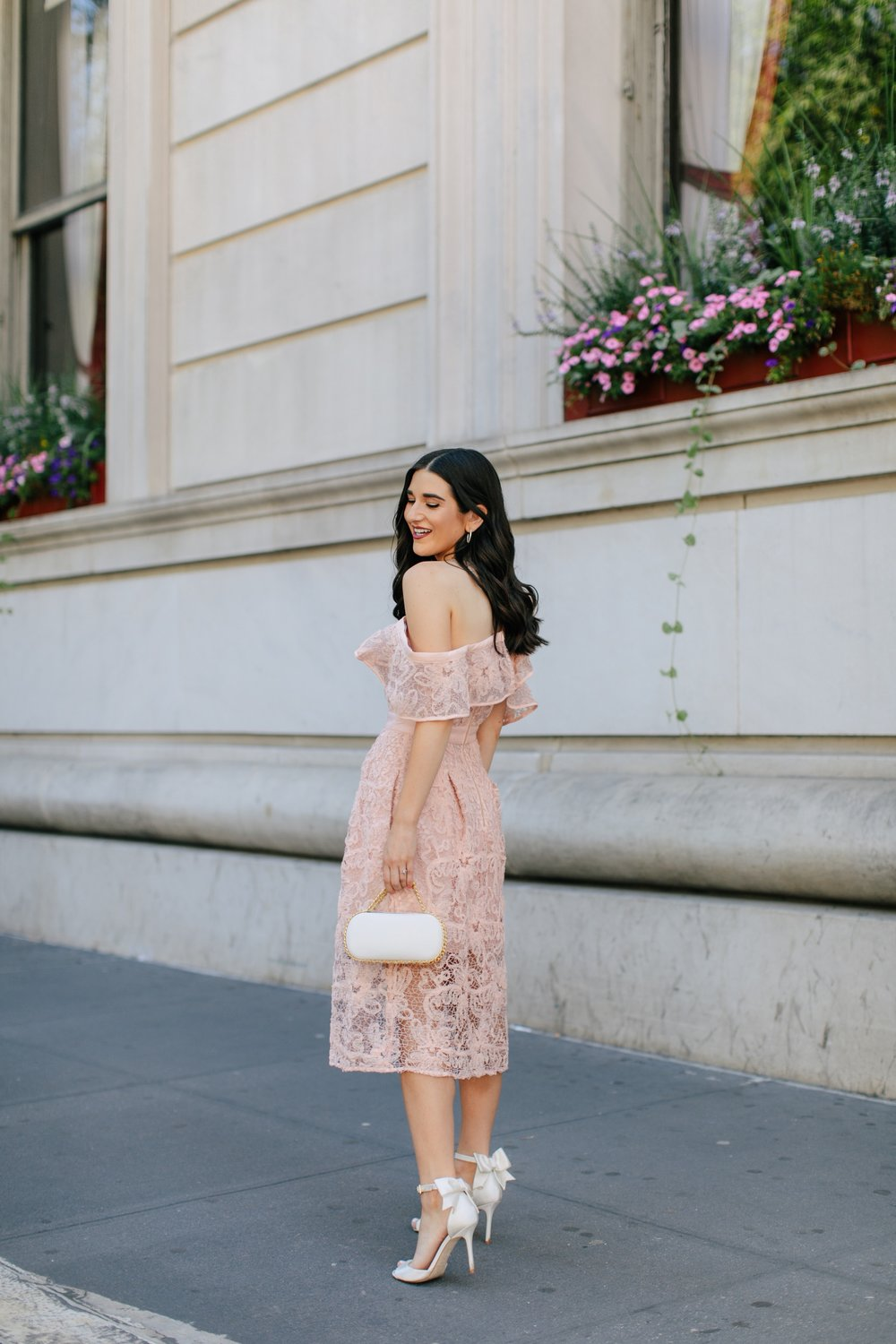 A New Perspective On Instagram Jealousy Pink Lace Dress Ivory Bow Heels Esther Santer Fashion Blog NYC Street Style Blogger Outfit OOTD Trendy White Bag Clutch Self Portrait Designer Kate Spade Wedding Shoes Fancy Elegant Feminine Formal Shopping Wear.jpg