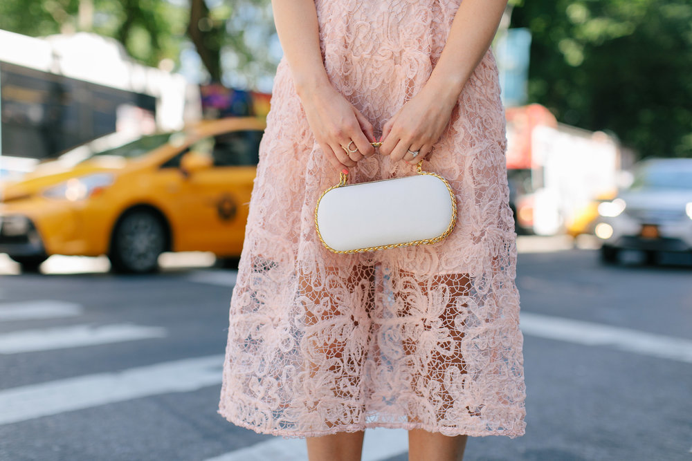 A New Perspective On Instagram Jealousy Pink Lace Dress Ivory Bow Heels Esther Santer Fashion Blog NYC Street Style Blogger Outfit OOTD Trendy Formal White Bag Clutch Self Portrait Designer Kate Spade Wear Wedding Shoes Fancy Elegant Feminine Shopping.jpg