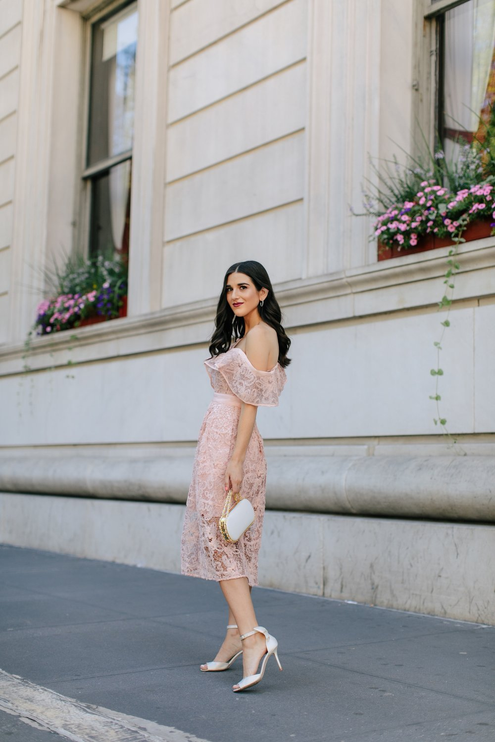 A New Perspective On Instagram Jealousy Pink Lace Dress Ivory Bow Heels Esther Santer Fashion Blog NYC Street Style Blogger Outfit OOTD Trendy White Bag Clutch Self Portrait Designer Kate Spade Wedding Shoes Fancy Elegant Wear Feminine Formal Shopping.jpg