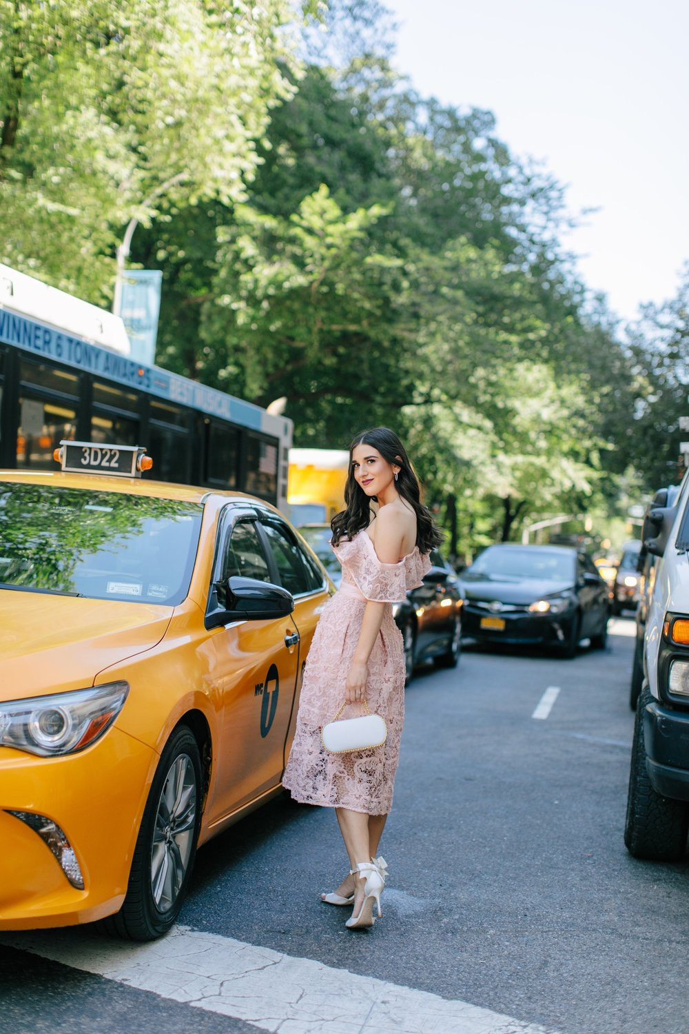 A New Perspective On Instagram Jealousy Pink Lace Dress Ivory Bow Heels Esther Santer Fashion Blog NYC Street Style Blogger Outfit OOTD Trendy Formal White Bag Clutch Self Portrait Designer Kate Spade Wedding Shoes Fancy Elegant Feminine Shopping Wear.jpg