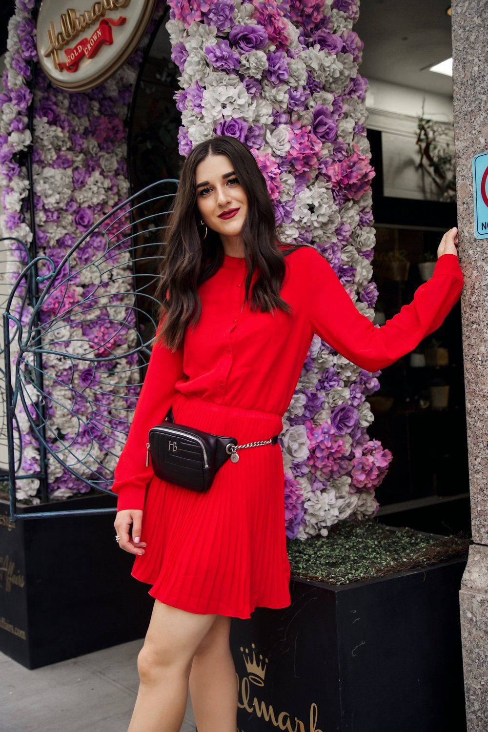 What Do Bloggers Do With All The Free Products They Receive Red Pleated Dress Black Belt Bag Esther Santer Fashion Blog NYC Street Style Blogger Outfit OOTD Trendy ASOS Vince Camuto Braided Sandals Shoes Hair Fanny Pack Women Shopping Girl Summer Fall.jpg