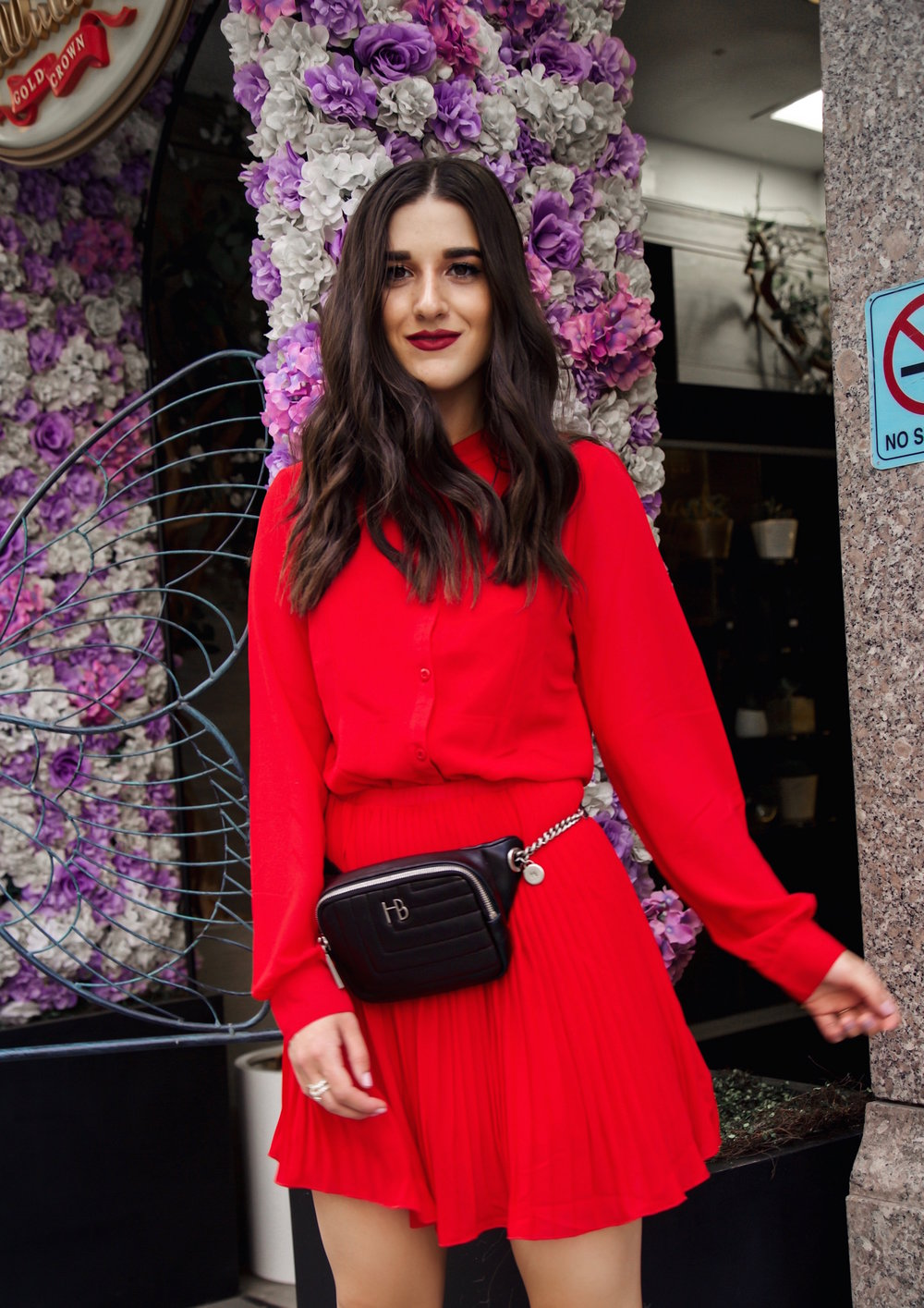 What Do Bloggers Do With All The Free Products They Receive Red Pleated Dress Black Belt Bag Esther Santer Fashion Blog NYC Street Style Blogger Outfit OOTD Trendy ASOS Vince Camuto Braided Sandals Shoes Hair Girl Women Fanny Pack Fall Summer Shopping.jpg