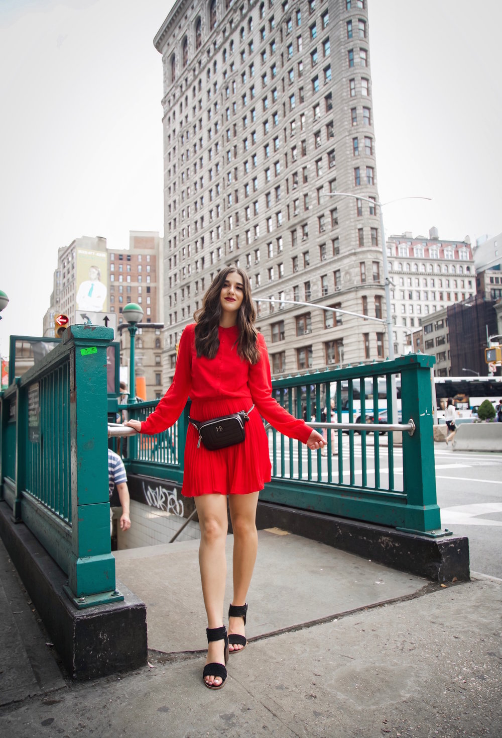 What Do Bloggers Do With All The Free Products They Receive Red Pleated Dress Black Belt Bag Esther Santer Fashion Blog NYC Street Style Blogger Outfit OOTD Trendy ASOS Vince Camuto Braided Sandals Shoes Hair Girl Women Fanny Pack Summer Fall Shopping.jpg