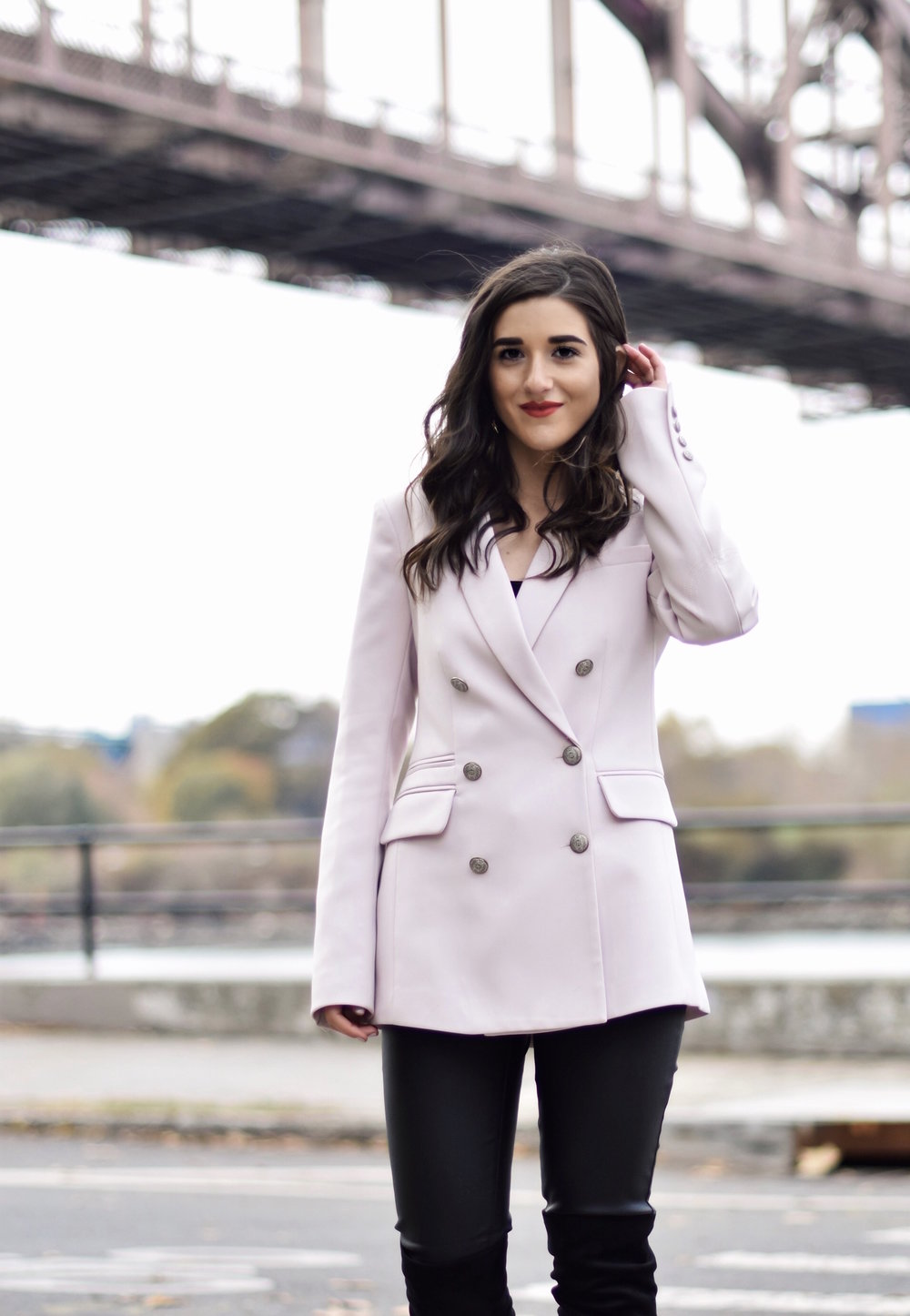 Why Some Bloggers Beg You To Like Their Photos Light Pink Blazer Leather Leggings Esther Santer Fashion Blog NYC Street Style Blogger Outfit OOTD Trendy Rachel Roy Black Over The Knee Boot Girl Women Astoria Photoshoot Winter Fall Jacket Sale Shopping.jpg