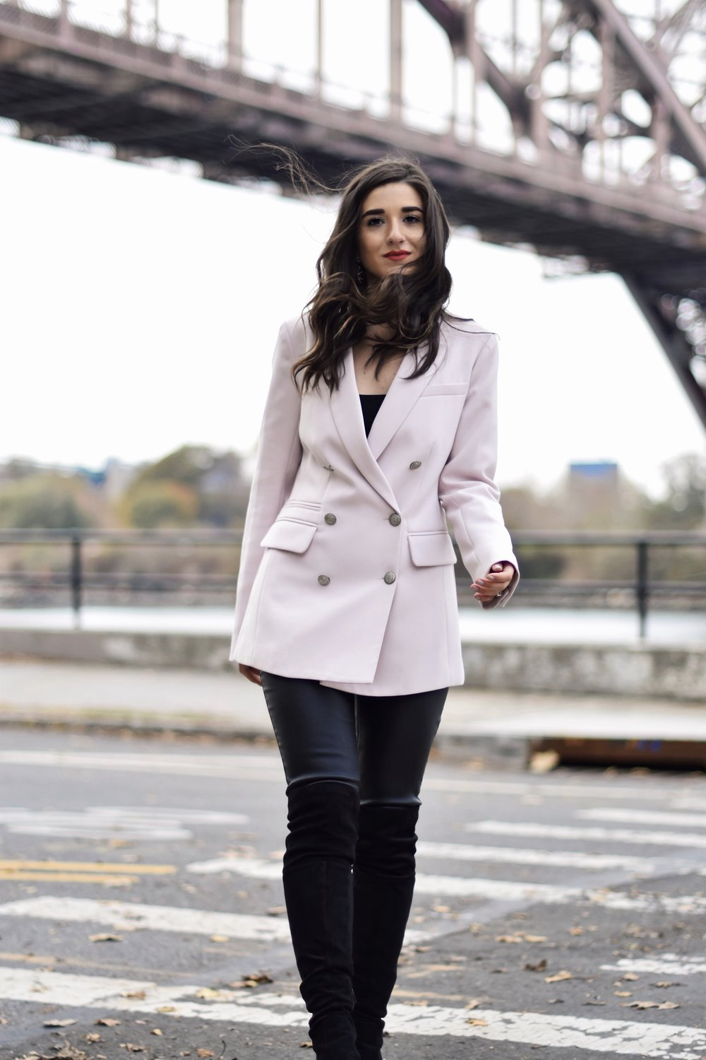 Why Some Bloggers Beg You To Like Their Photos Light Pink Blazer Leather Leggings Esther Santer Fashion Blog NYC Street Style Blogger Outfit OOTD Trendy Rachel Roy Black Over The Knee Boot Girl Women Astoria Photoshoot Fall Winter Shopping Sale Jacket.jpg