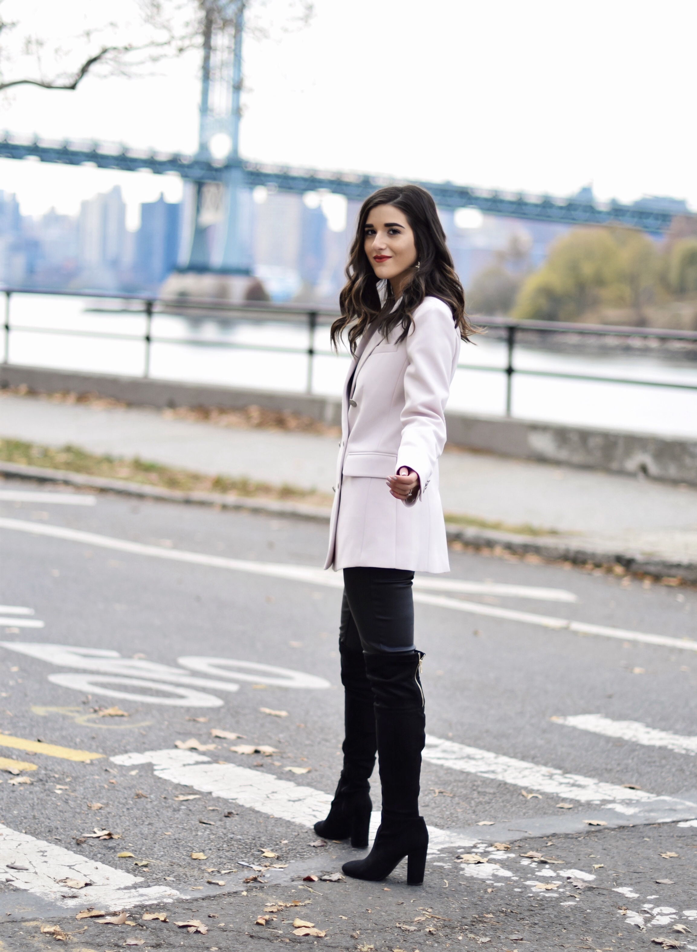 7b2820b597b Why Some Bloggers Beg You To Like Their Photos Light Pink Blazer Leather  Leggings Esther Santer