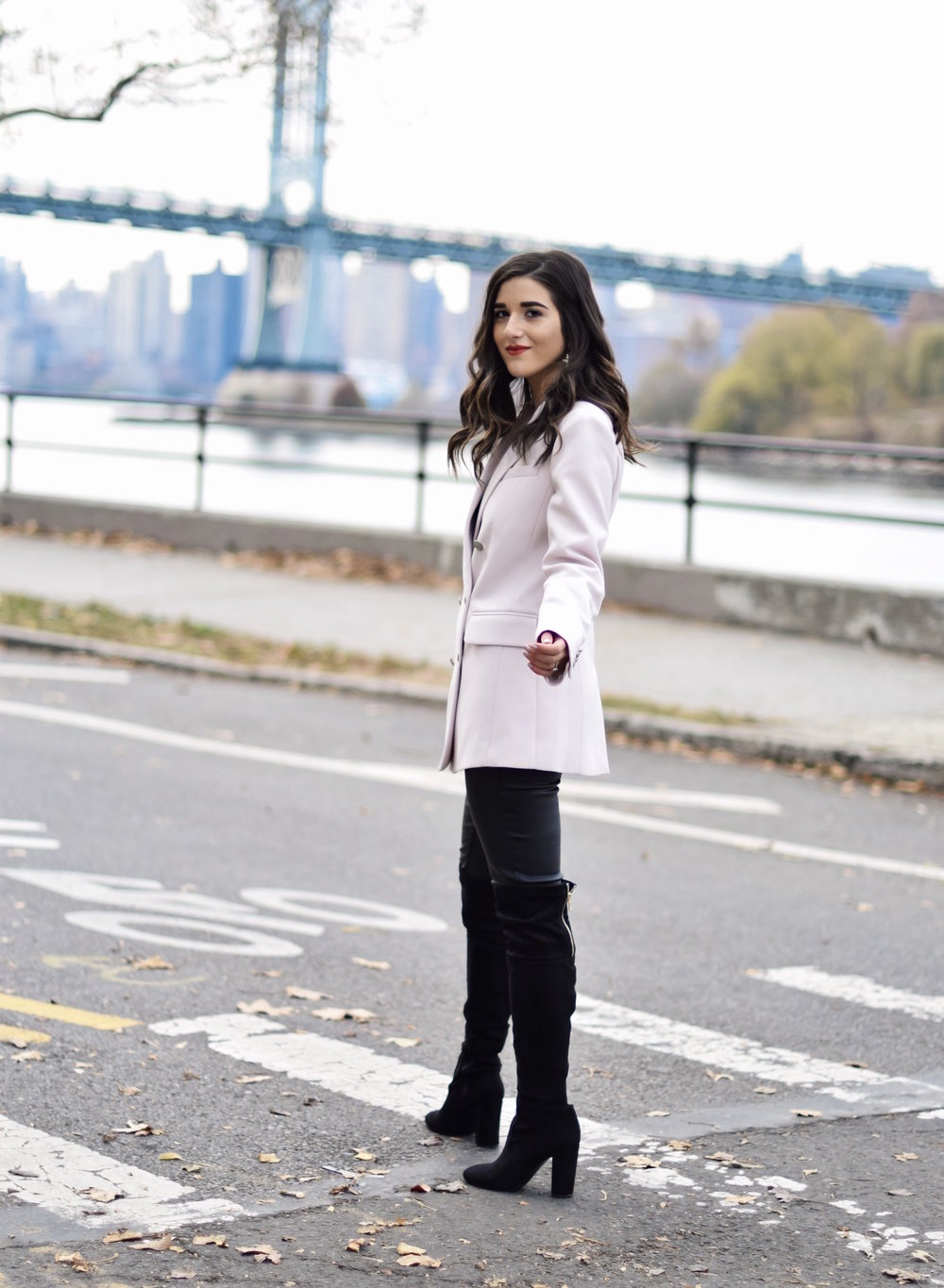 Why Some Bloggers Beg You To Like Their Photos Light Pink Blazer Leather Leggings Esther Santer Fashion Blog NYC Street Style Blogger Outfit OOTD Trendy Rachel Roy Black Over The Knee Boot Girl Women Astoria Photoshoot Winter Fall Shopping Sale Jacket.jpg