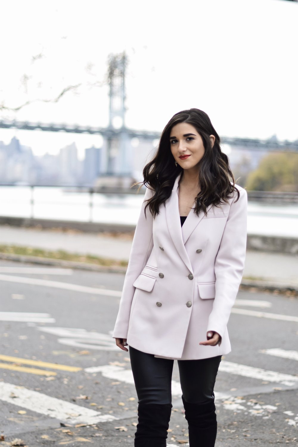 Why Some Bloggers Beg You To Like Their Photos Light Pink Blazer Leather Leggings Esther Santer Fashion Blog NYC Street Style Blogger Outfit OOTD Trendy Rachel Roy Black Over The Knee Boot Girl Women Photoshoot Astoria Fall Winter Shopping Sale Jacket.jpg