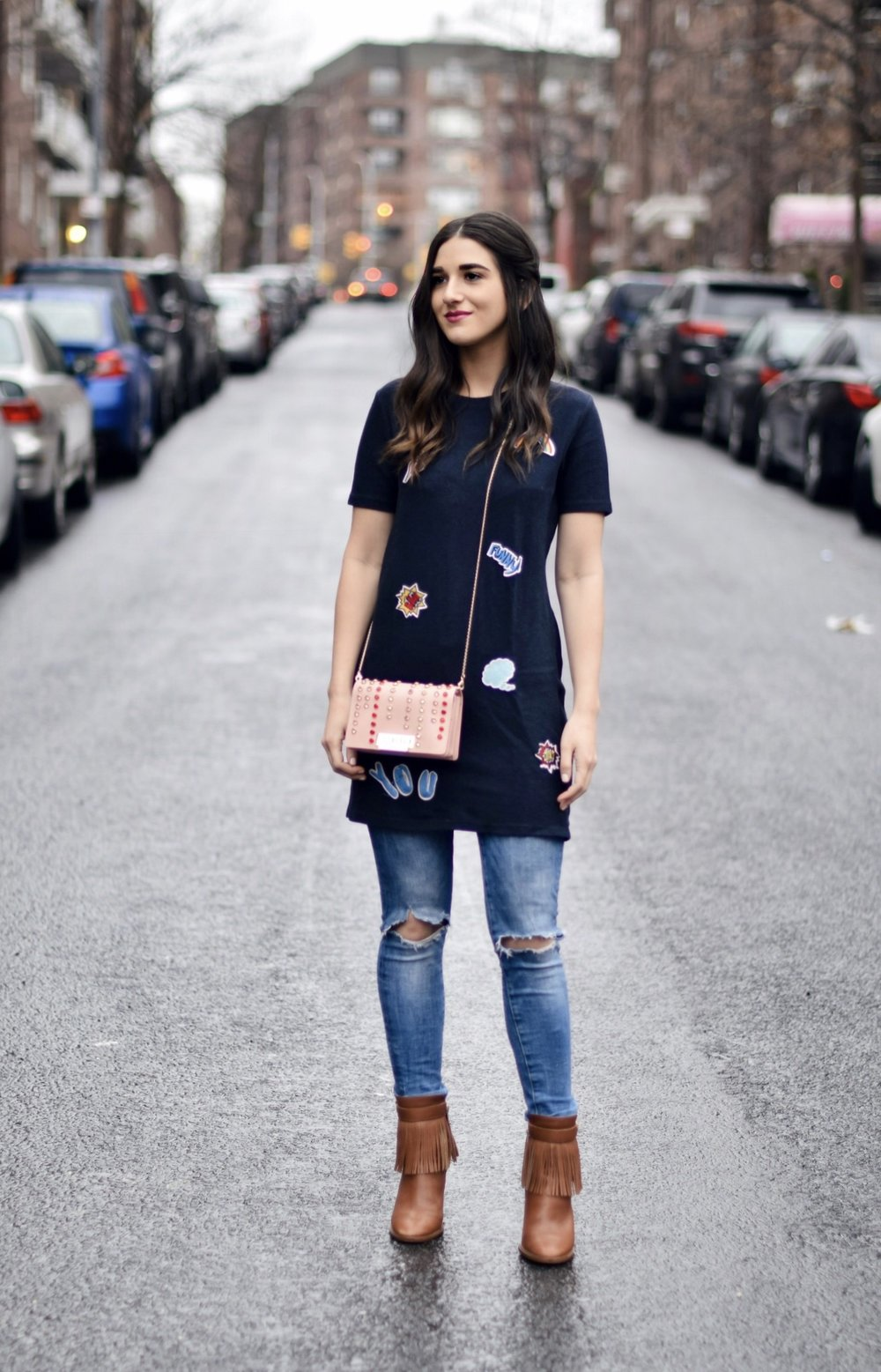 5 Habits You Should Adopt to Become A Better Worker Patch Dress Ripped Jeans Esther Santer Fashion Blog NYC Street Style Blogger Outfit OOTD Trendy Zac Posen Swarovski Bag Sale Online Shopping Zara Jeans Over Dress Styling Fringe Booties Nordstrom Buy.jpg