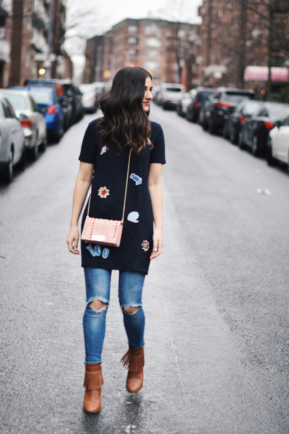 5 Habits You Should Adopt to Become A Better Worker Patch Dress Ripped Jeans Esther Santer Fashion Blog NYC Street Style Blogger Outfit OOTD Trendy Zac Posen Swarovski Bag Sale Online Shopping Zara Buy Jeans Over Dress Styling Nordstrom Fringe Booties.jpg