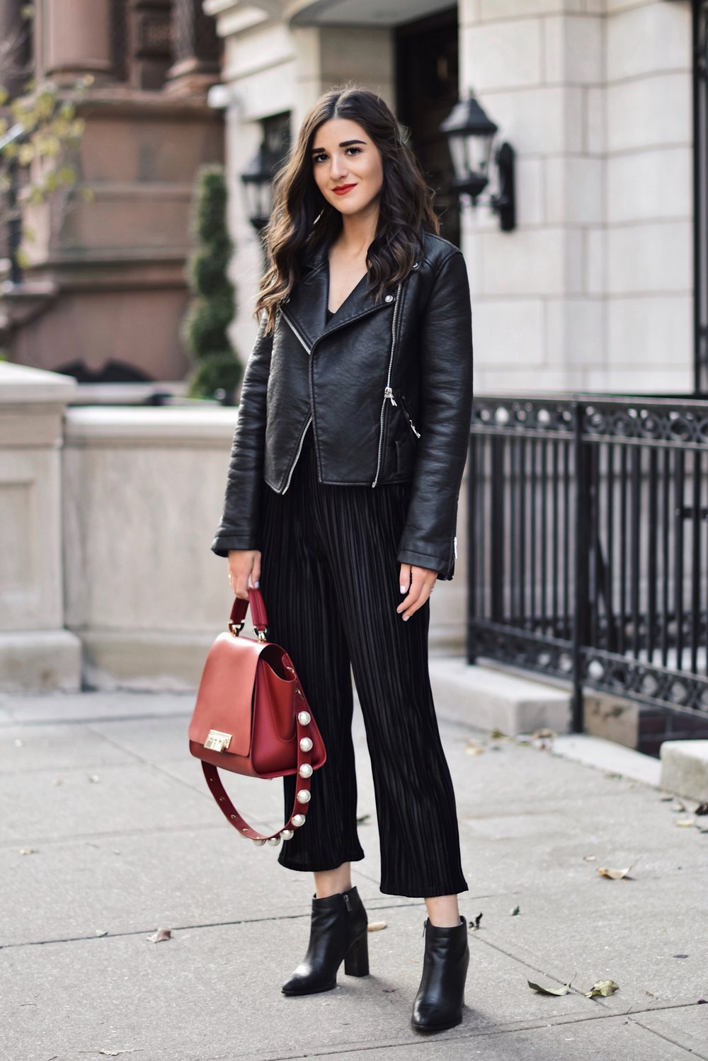 The Secret To Beating The Instagram Algorithm Black Velvet Set Leather Jacket Esther Santer Fashion Blog NYC Street Style Blogger Outfit OOTD Trendy All Black Monochrome Red Purse Zac Posen Bag Collaboration Booties Winter Fall Look Shopping Wear Buy.jpg