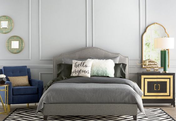 Roselawn Upholstered Platform Bed Darby Home Co Wayfair Esther Santer NYC Street Style Blogger Home Decor Interior Design Inspiration Bed Headboard Grey Upholstered Beautiful Affordable Shopping Sheets Pretty Studs Neutral Sale Dream Inspo Trendy.jpg