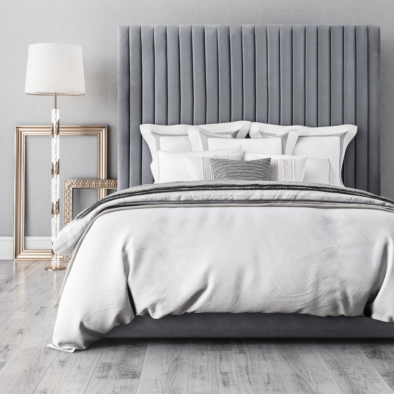 Abid+Upholstered+Platform+Bed Wayfair Esther Santer NYC Street Style Blogger Home Decor Interior Design Inspiration Bed Headboard Grey Upholstered Beautiful Affordable Shopping Sheets Pretty Studs Neutral Sale Dream Inspo Trendy Color House.jpg