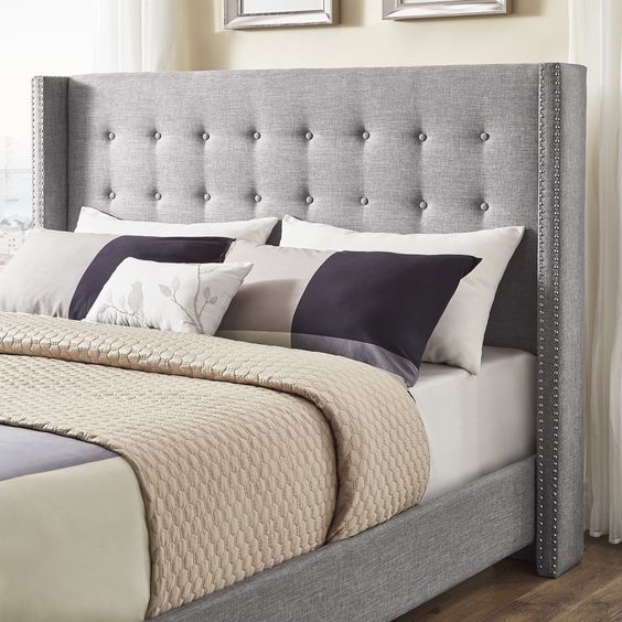 Melina Tufted Linen Wingback Bed by iNSPIRE Q Bold Wayfair Esther Santer NYC Street Style Blogger Home Decor Interior Design Inspiration Bed Headboard Grey Upholstered Beautiful Affordable Shopping Bedroom Pretty Studs Neutral Sale Dream Inspo Trendy.jpg