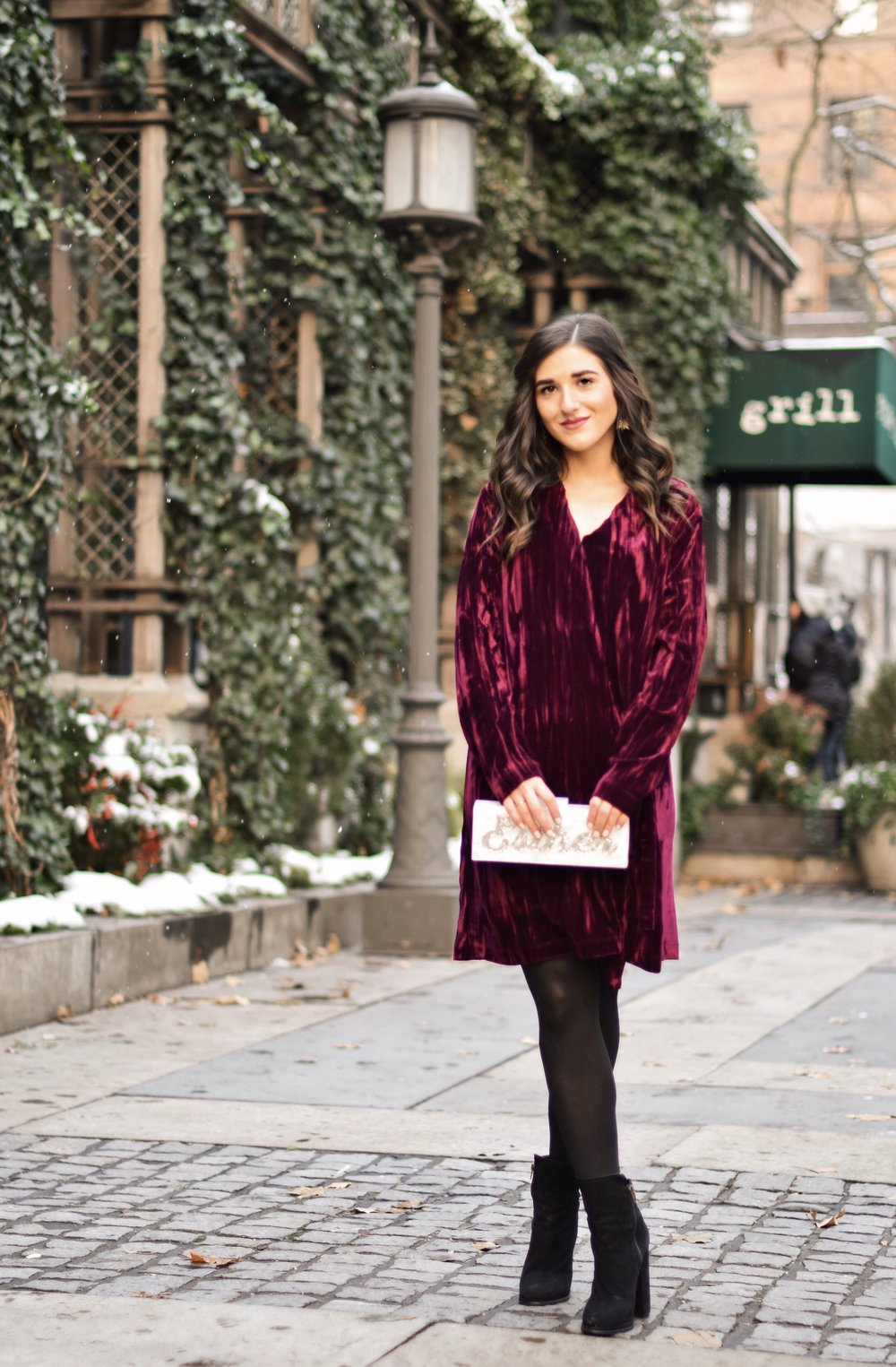 17 Tips On Building An Instagram Following Maroon Velvet Dress Black Booties Esther Santer Fashion Blog NYC Street Style Blogger Outfit OOTD Trendy Zara Online Shopping Winter Monogram Box Bag Clutch M4D3 Shoes Hue Tights Wavy Hair Wear Classic Simple.jpg