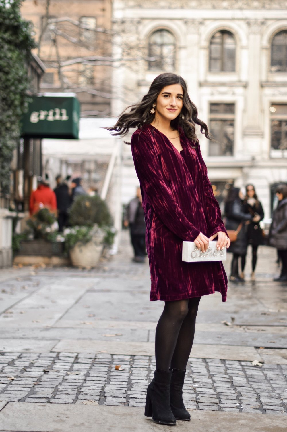 17 Tips On Building An Instagram Following Maroon Velvet Dress Black Booties Esther Santer Fashion Blog NYC Street Style Blogger Outfit OOTD Trendy Zara Online Shopping Winter Monogram Box Bag Clutch Shoes M4D3 Wavy Hair Hue Tights Wear Simple Classic.jpg