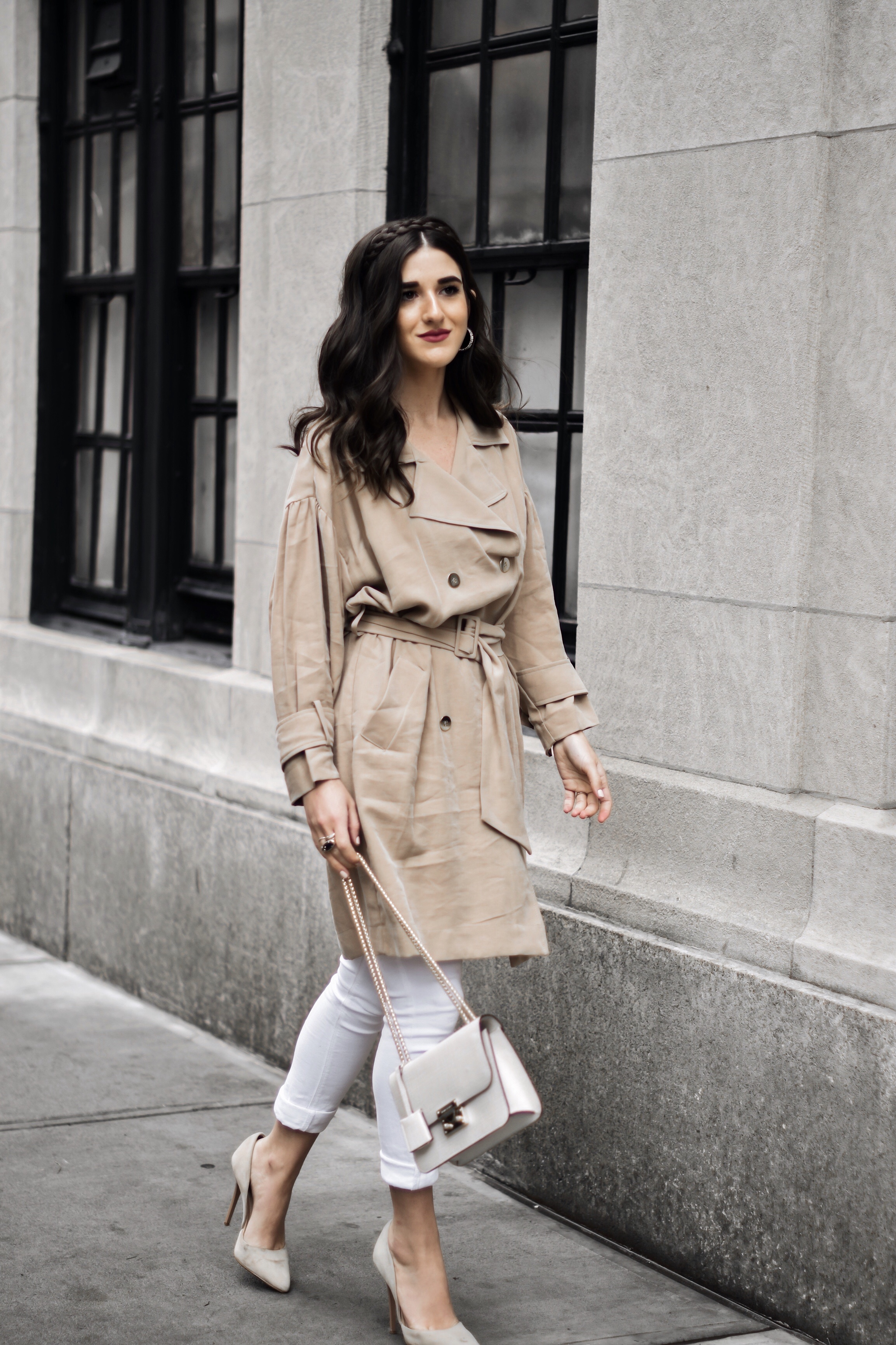 453f7932 All About Me Trench Coat Dress White Jeans Esther Santer Fashion Blog NYC  Street Style Blogger