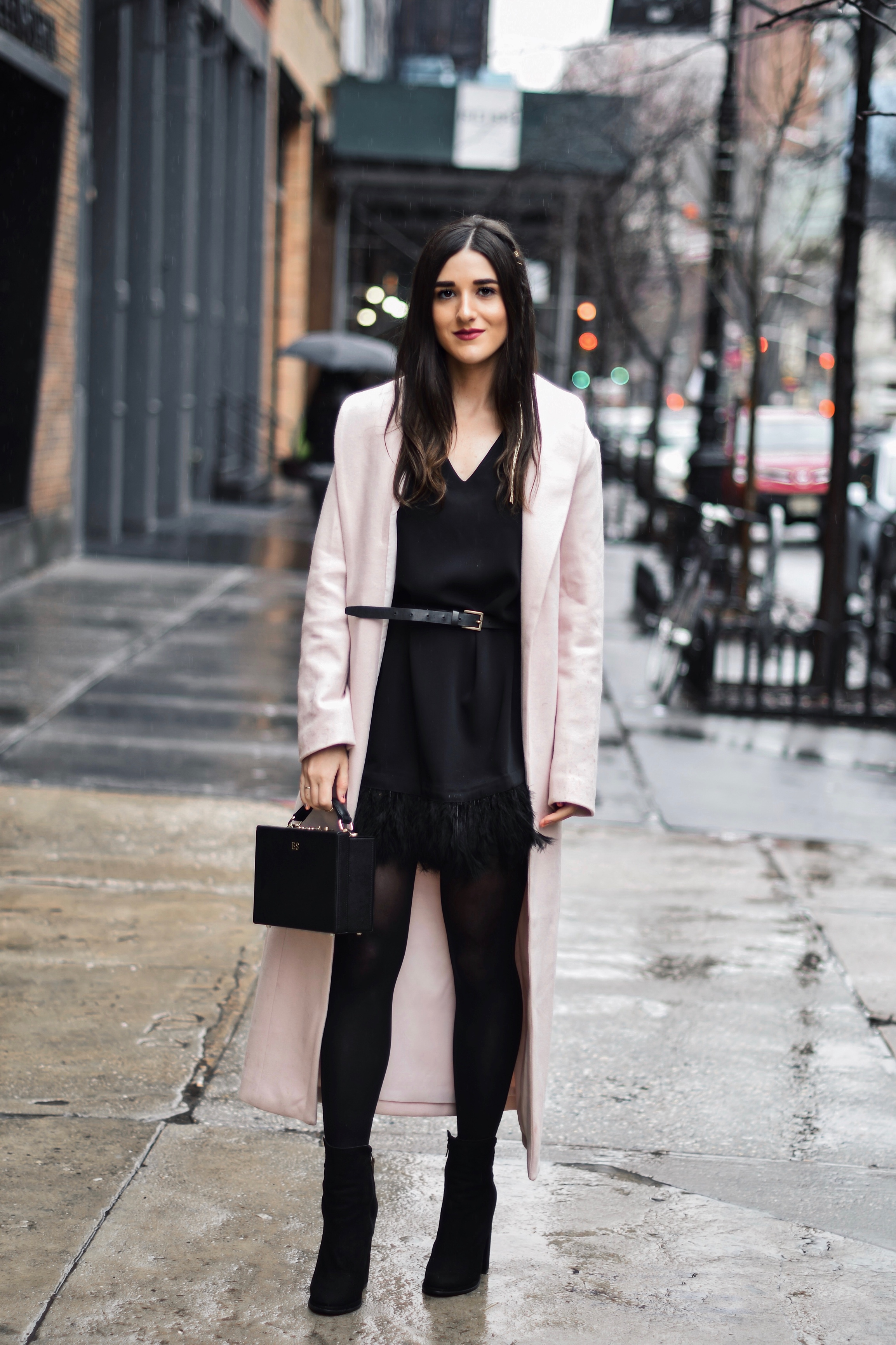 f991c1ad How To Stay Grounded // Black Feather Trim Dress + Long Pink Coat ...