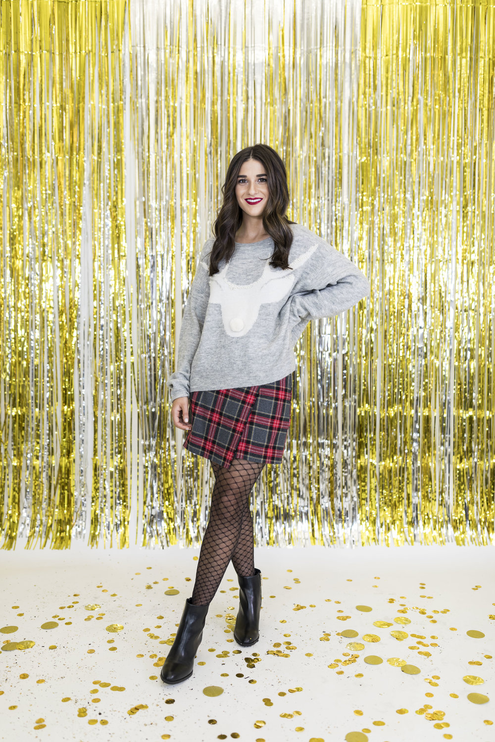 H&M Holiday Video Collab Esther Santer Fashion Blog NYC Street Style Blogger Outfit OOTD Trendy Confetti Streamers Balloons Presents Gift Wrap Shopping Wear Stylist Photoshoot Studio Plaid Skirt DryBar Hairstyle Friends Girls Lace Accessories Jewelry.jpg
