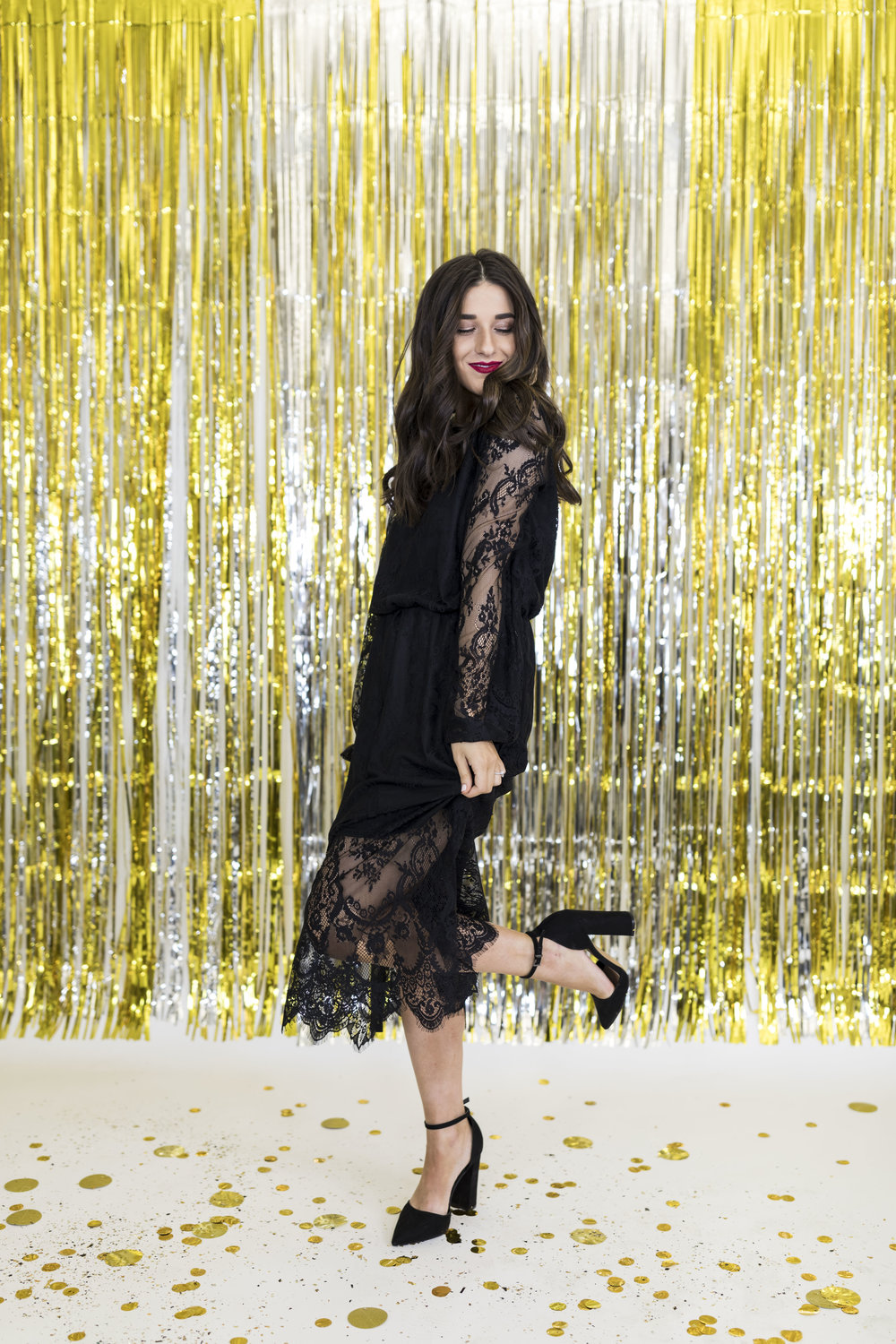H&M Holiday Video Collab Esther Santer Fashion Blog NYC Street Style Blogger Outfit OOTD Trendy Confetti Streamers Balloons Presents Gift Wrap Shopping Wear Stylist Photoshoot Sweater Plaid Skirt DryBar Hairstyle Friends Girls Lace Jewelry Accessories.jpg