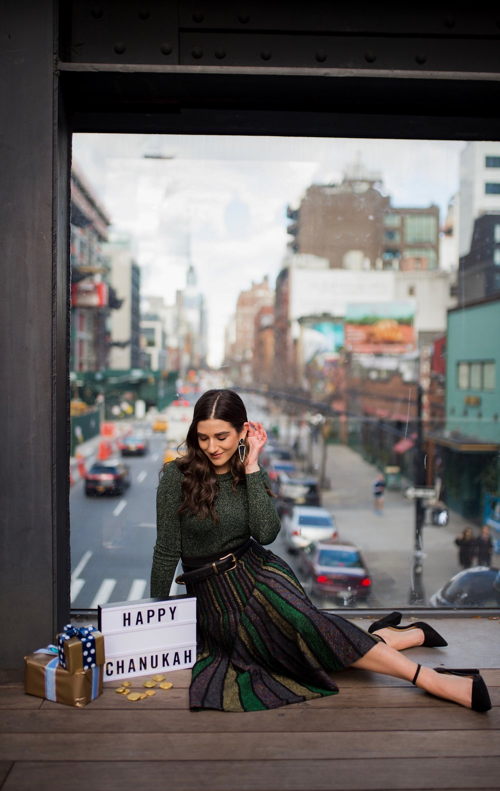 So You Wanna Talk About Diversity Don't forget me Esther Santer Fashion Blog NYC Street Style Blogger Outfit OOTD Trendy Shopping Miri Couture Laurel Creative Sparkles Midi Skirt Glitter Holiday Jewish Chanukah 2018 Green Top Glitter Long Sleeve Shirt.jpg