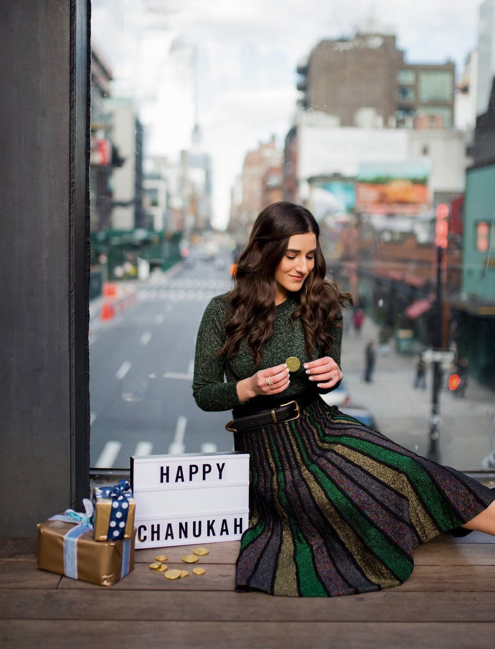 So You Wanna Talk About Diversity Don't forget me Esther Santer Fashion Blog NYC Street Style Blogger Outfit OOTD Trendy Shopping Miri Couture Laurel Creative Sparkles Midi Skirt Glitter Holiday Jewish 2018 Chanukah Green Glitter Top Long Sleeve Shirt.jpg