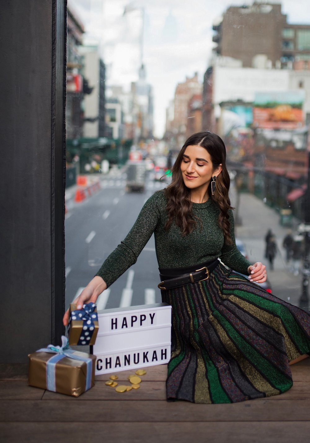 So You Wanna Talk About Diversity Don't forget me Esther Santer Fashion Blog NYC Street Style Blogger Outfit OOTD Trendy Shopping Miri Couture Laurel Creative Sparkles Glitter Holiday Midi Skirt Jewish Chanukah Green Long Sleeve Top Glitter Shirt 2018.jpg