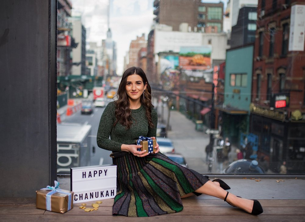So You Wanna Talk About Diversity Don't forget me Esther Santer Fashion Blog NYC Street Style Blogger Outfit OOTD Trendy Shopping Miri Couture Laurel Creative Sparkles Glitter Holiday Midi Skirt Jewish Chanukah 2018 Green Top Long Sleeve Glitter Shirt.jpg