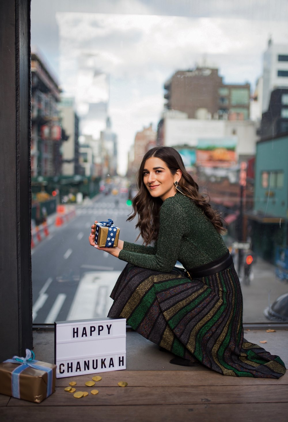 So You Wanna Talk About Diversity Don't forget me Esther Santer Fashion Blog NYC Street Style Blogger Outfit OOTD Trendy Shopping Miri Couture Laurel Creative Sparkles Midi Skirt Glitter Holiday Jewish Chanukah 2018 Green Glitter Top Long Sleeve Shirt.jpg
