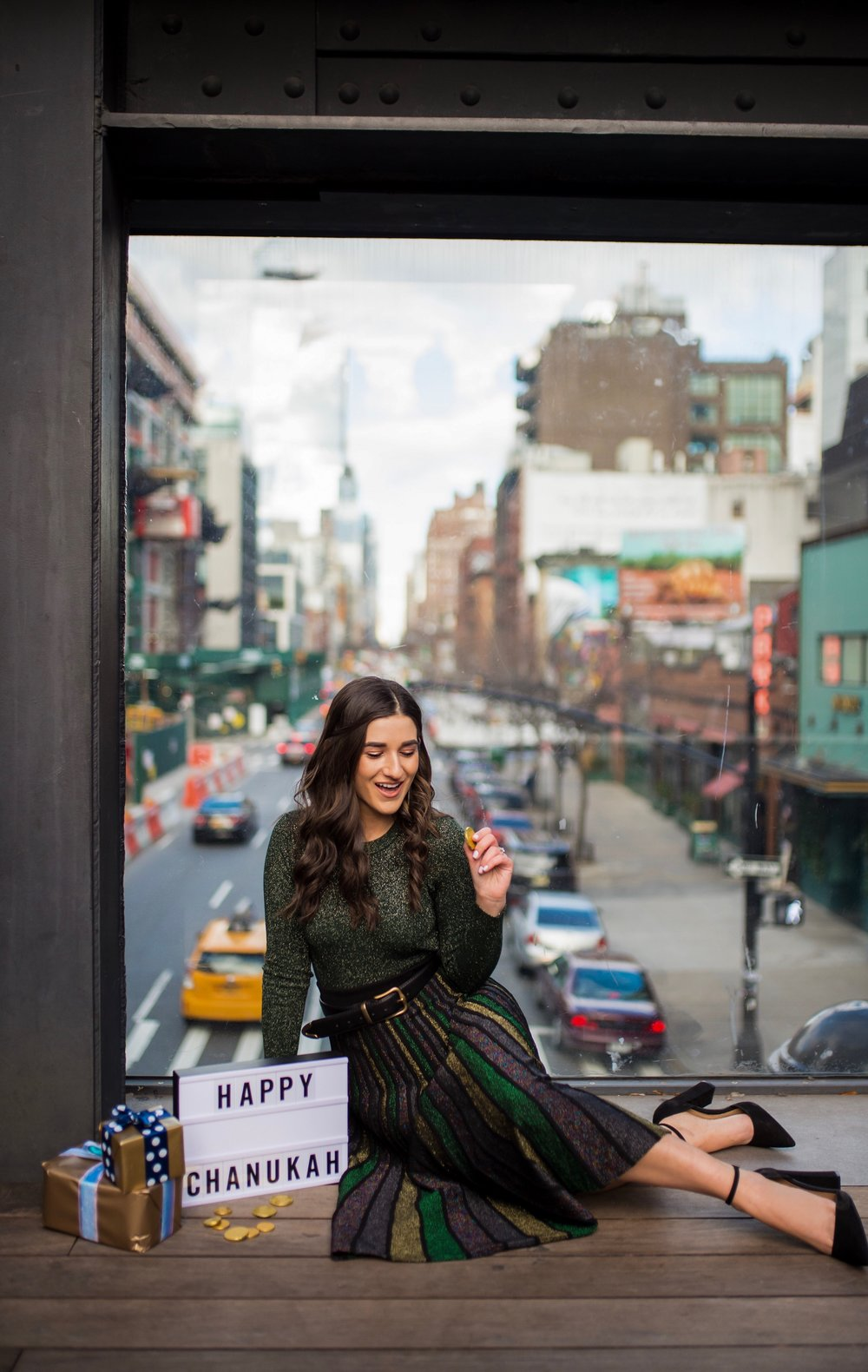 So You Wanna Talk About Diversity Don't forget me Esther Santer Fashion Blog NYC Street Style Blogger Outfit OOTD Trendy Shopping Miri Couture Laurel Creative Sparkles Midi Skirt Glitter Holiday Jewish Chanukah 2018 Green Top Long Sleeve Glitter Shirt.jpg