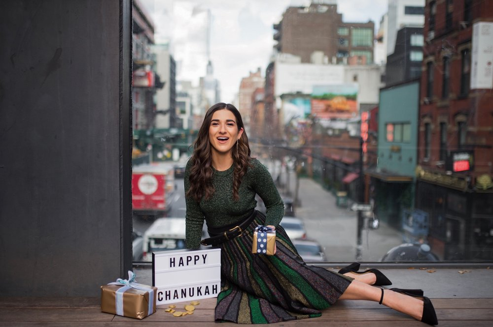 So You Wanna Talk About Diversity Don't forget me Esther Santer Fashion Blog NYC Street Style Blogger Outfit OOTD Trendy Shopping Miri Couture Laurel Creative Sparkles Midi Skirt Glitter Holiday Jewish 2018 Green Glitter Top Long Sleeve Shirt Chanukah.jpg