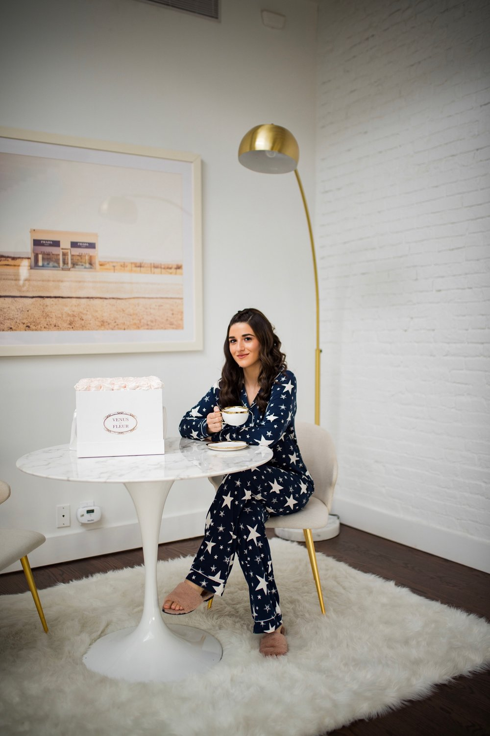 5 Tips For Becoming A Morning Person Navy Star Pajamas Esther Santer Fashion Blog NYC Street Style Blogger Outfit OOTD Trendy Shopping PJs Holiday ASOS Cute Wear Interior Beautiful Home Penthouse Wayfair Circle Mirror Venus Et Fleur Art Marble Table.jpg