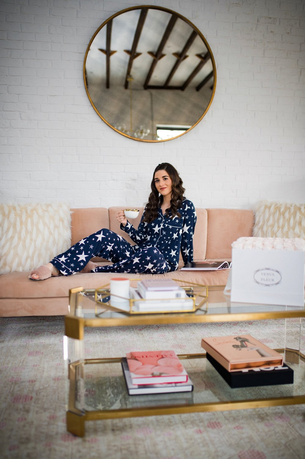 5 Tips For Becoming A Morning Person Navy Star Pajamas Esther Santer Fashion Blog NYC Street Style Blogger Outfit OOTD Trendy Shopping PJs Holiday ASOS Cute Wear Interior Beautiful Home Penthouse Wayfair Circle Mirror Venus Et Fleur Gold Coffee  Table.jpg