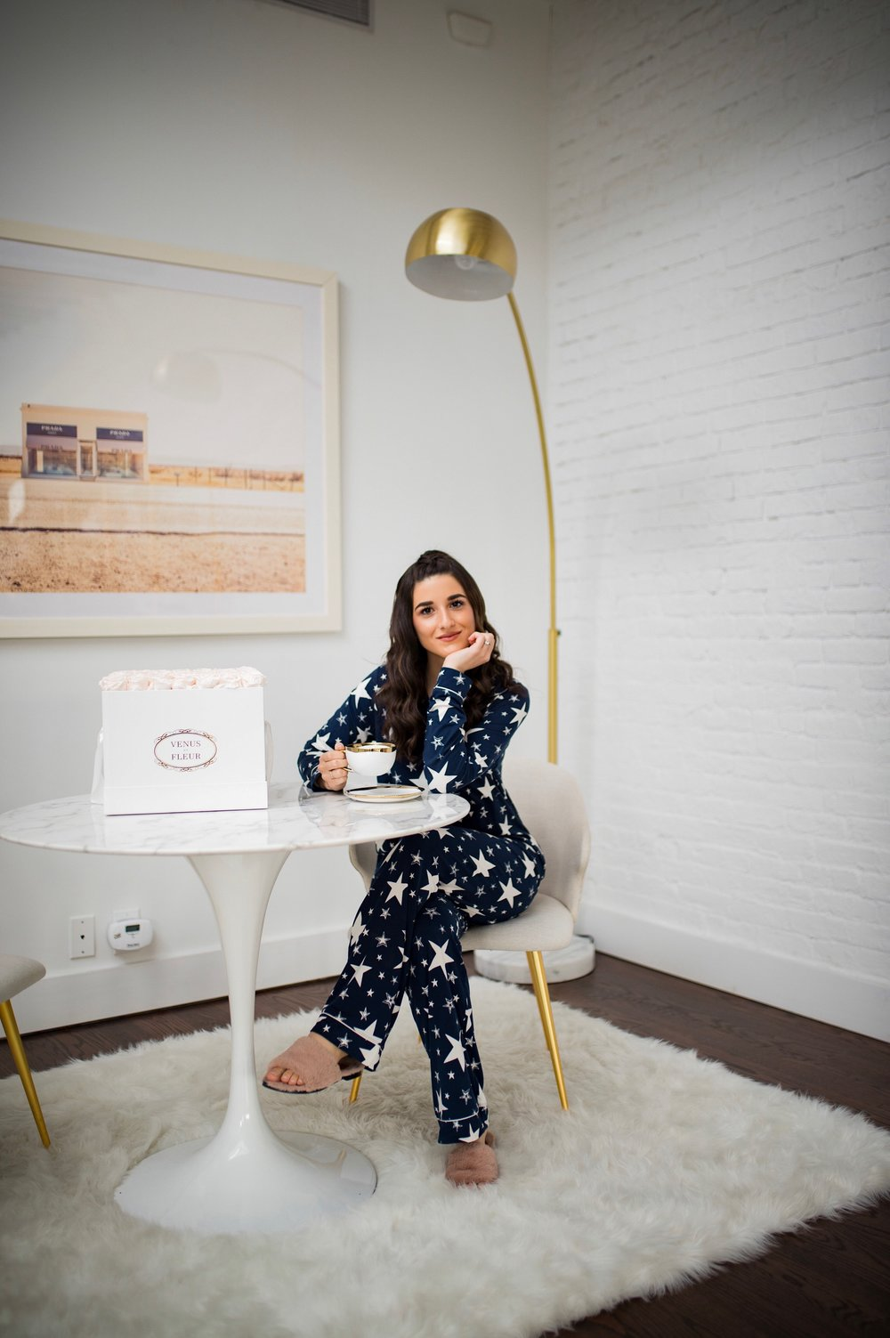 5 Tips For Becoming A Morning Person Navy Star Pajamas Esther Santer Fashion Blog NYC Street Style Blogger Outfit OOTD Trendy Shopping PJs Holiday ASOS Cute Wear Interior Beautiful Home Penthouse Wayfair Circle Mirror Venus Et Fleur Gold Lamp Marble.jpg
