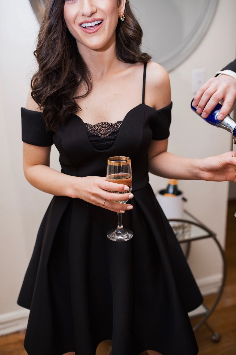 2019 Blogging Goals Happy New Year Esther Santer Fashion Blog NYC Street Style Blogger Outfit OOTD Trendy Shopping Smile Husband Wife Alcohol Drinks Gold Bar Cart Relationship Goals Little Black Dress Lace Brian Atwood Holiday Heels  Rainbow  Earrings.jpg