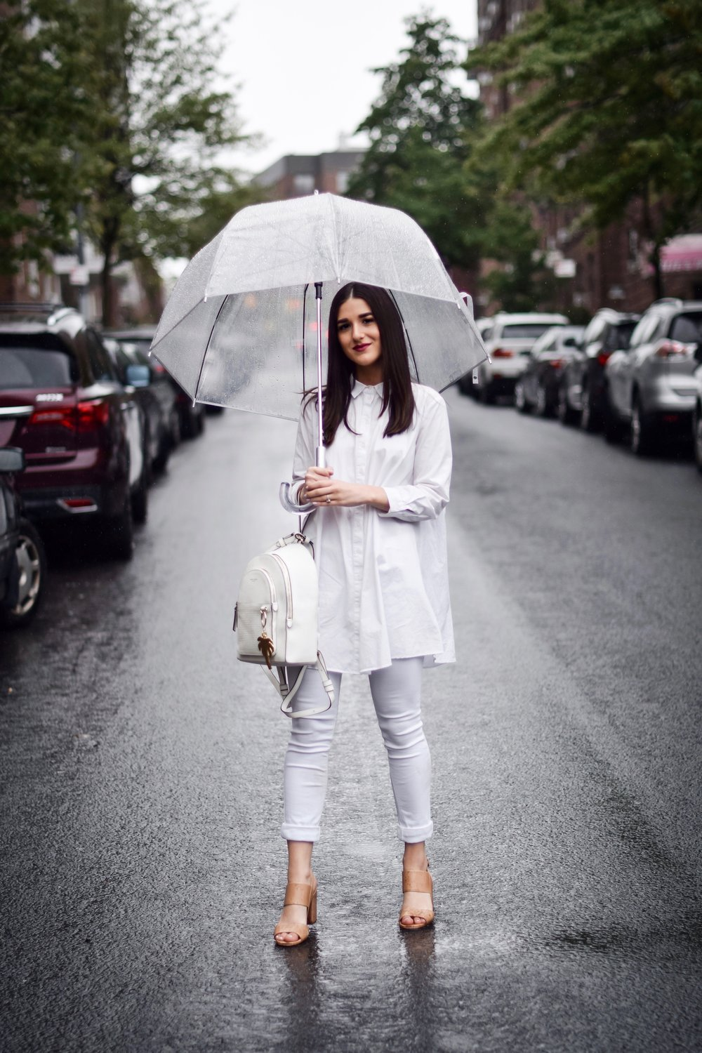 Why I Won't Be Bringing My Camera Or Laptop To Portugal Or Spain All White Look Esther Santer Fashion Blog NYC Street Style Blogger Outfit OOTD Trendy Shopping Umbrella Rainy Day Button Down Sandals Heels Zara Pants Straight Hair Travel Women New York.jpg