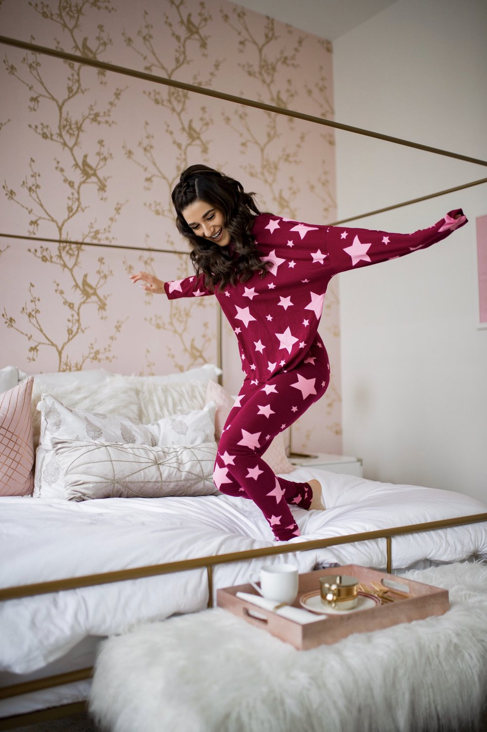How I Became A Full Time Blogger Pink Star Pajamas Esther Santer Fashion Blog NYC Street Style Blogger Outfit OOTD Trendy Shopping ASOS Shopping Cute Pretty Hairstyle Laurel Creative New York City Penthouse Photoshoot Bedroom Wayfair Furniture Modern .jpg