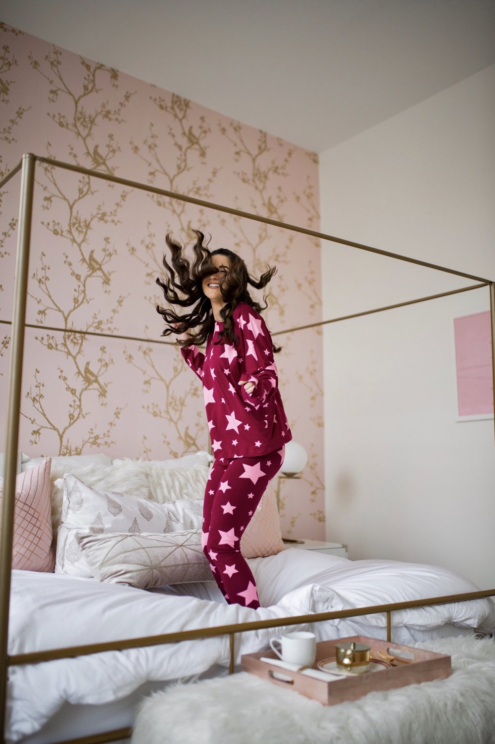 How I Became A Full Time Blogger Pink Star Pajamas Esther Santer Fashion Blog NYC Street Style Blogger Outfit OOTD Trendy Shopping ASOS Shopping Cute Pretty Hairstyle Laurel Creative New York City Penthouse Photoshoot Bedroom Wayfair Furniture Modern.jpg