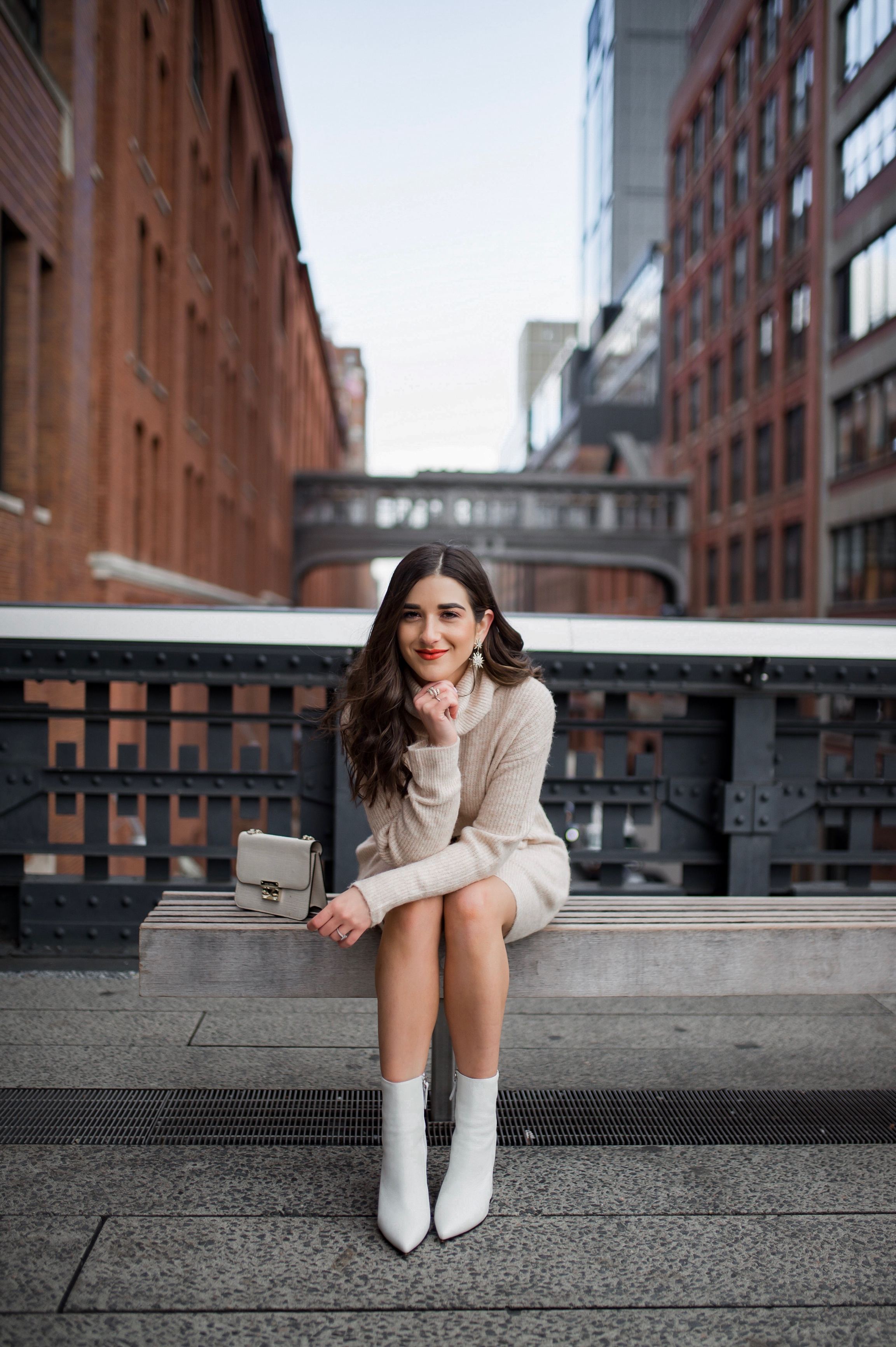 How Blogging Is Far From Freeloading    Beige Sweater Dress + White Booties 2451d3e61