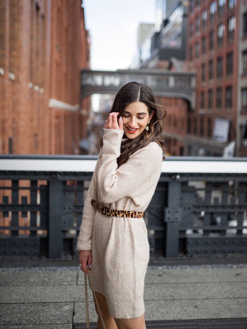 Why Blogging Is Far From Freeloading Beige Sweater Dress White Booties Esther Santer Fashion Blog NYC Street Style Blogger Outfit OOTD Trendy Shopping Leopard Belt Neutral Winter How To Wear Shop Sale Mango Jcrew The High Line  Photoshoot Inspiration.jpg