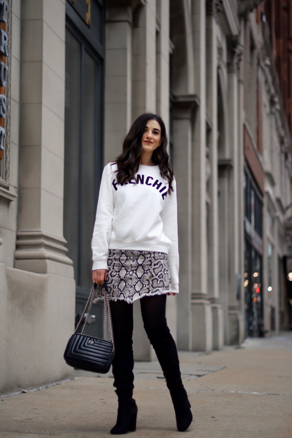 10 Best Organizing Tips Snakeskin Skirt White Sweatshirt Esther Santer Fashion Blog NYC Street Style Blogger Outfit OOTD Trendy Shopping How To Wear Frenchie H&M Opaque Tights Over The Knee Black Boots Winter  Fall Zara Shoes Saint Louis Arch Downtown.jpg