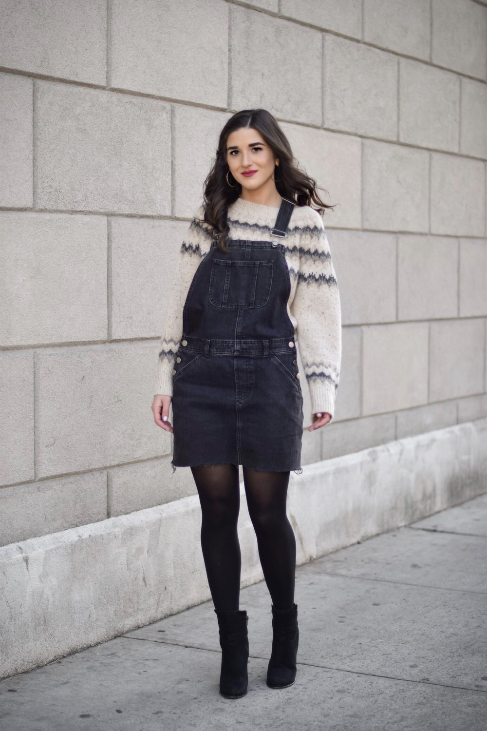 My Biggest Fashion And Beauty Mistakes Jean Overall Dress Over Cashmere Sweater Esther Santer Fashion Blog NYC Street Style Blogger Outfit OOTD Trendy Shopping Tights Cozy Winter What To Wear Cold Wavy Hair Girl Women Heel Booties Bold Lip Vince Denim.jpg