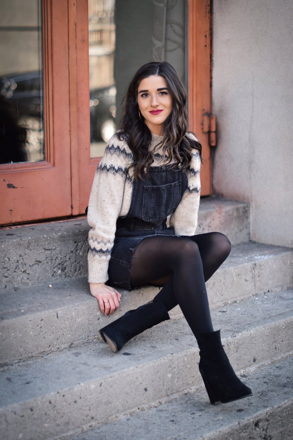 My Biggest Fashion And Beauty Mistakes Jean Overall Dress Over Cashmere Sweater Esther Santer Fashion Blog NYC Street Style Blogger Outfit OOTD Trendy Shopping Tights Cozy Winter What To Wear Cold Wavy Hair Girl Women Bold Lip Vince Heel Booties Denim.jpg