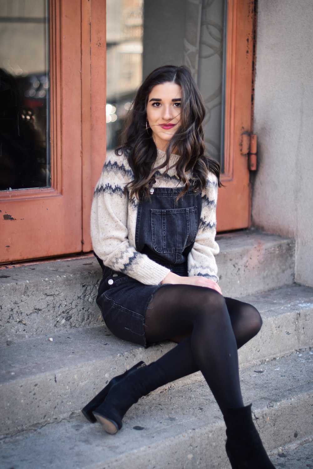 My Biggest Fashion And Beauty Mistakes Jean Overall Dress Over Cashmere Sweater Esther Santer Fashion Blog NYC Street Style Blogger Outfit OOTD Trendy Shopping Tights Cozy Winter What To Wear Cold Wavy Hair Girl Women Bold Lip Block Heel Booties Denim.jpg