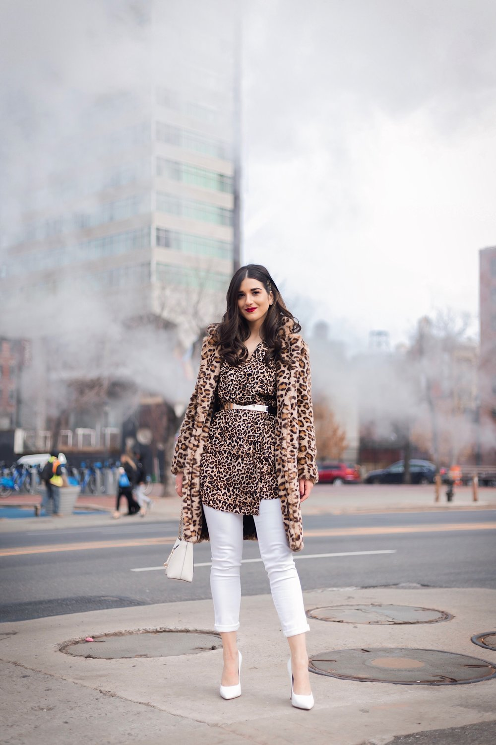 Dressing Up My Democracy Denim Esther Santer Fashion Blog NYC Street Style Blogger Outfit OOTD Trendy Shopping White Jeans Leopard Top Coat Inspo Bobby Pins Hair Trend White Heels Chaya Ross Photography Gold Belt Wear Cream Chain Small Bag Inspiration.jpg