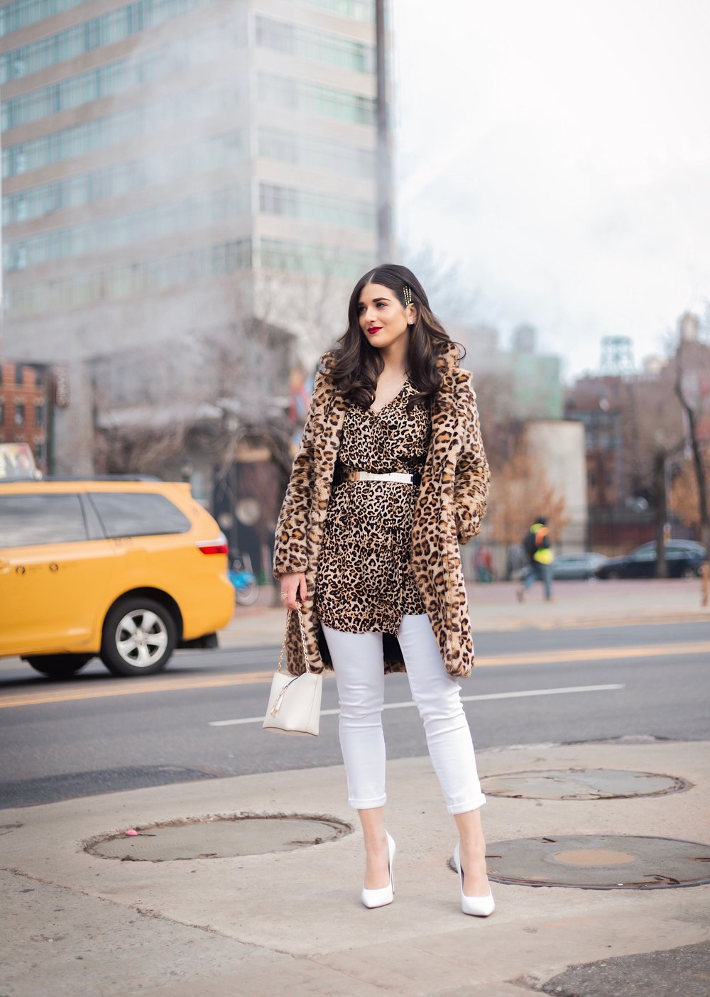 Dressing Up My Democracy Denim Esther Santer Fashion Blog NYC Street Style Blogger Outfit OOTD Trendy Shopping White Jeans Leopard Top Coat Inspo Bobby Pins Hair Trend White Heels Wear Chaya Ross Photography Inspiration Gold Belt Cream Chain Small Bag.jpg