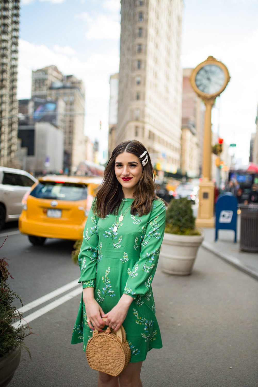 Styling Green For Spring LOFT Esther Santer Fashion Blog NYC Street Style Blogger Outfit OOTD Trendy Shopping White Heels Basket Circle Bag Florals Hair Accessories Pearl Clips Flatiron Photoshoot  Inspo Inspiration Petite Dress Inclusive Sizing Bag.jpg