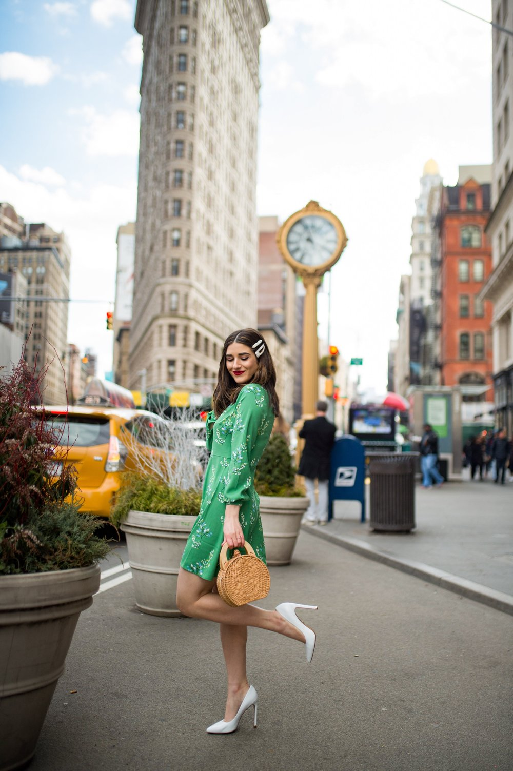 Styling Green For Spring LOFT Esther Santer Fashion Blog NYC Street Style Blogger Outfit OOTD Trendy Shopping White Heels Basket Circle Bag Florals Hair Accessories Pearl Clips Flatiron Photoshoot Inspo Inspiration Petite Dress Inclusive Sizing Bag .jpg